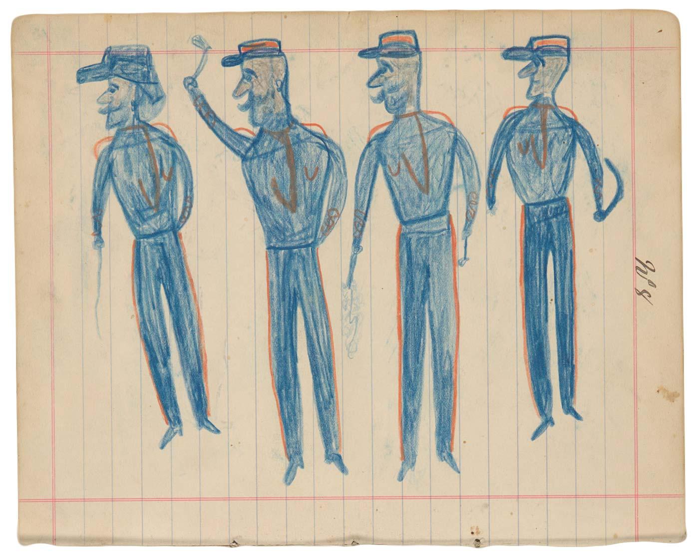 Sketchbook drawings of four blue figures wearing hats