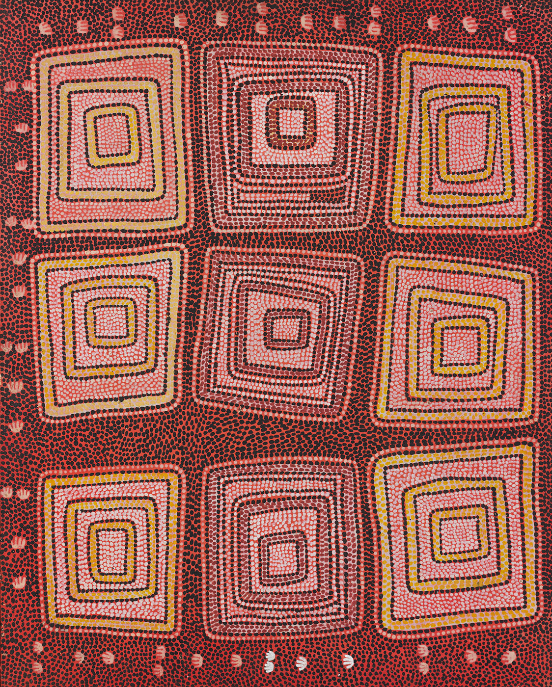 Possum Men of Yirtjurunya (Yiitjurunya) 1974 by Anatjari (Yanyatjarri) Tjakamarra. - click to view larger image