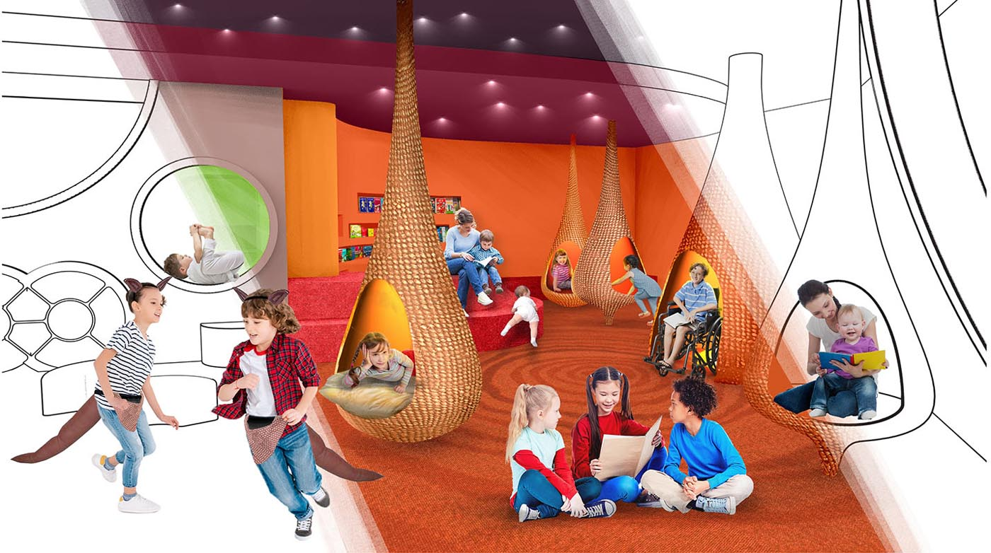 An artist's impression of children sitting and playing around inside an immersive play space. - click to view larger image