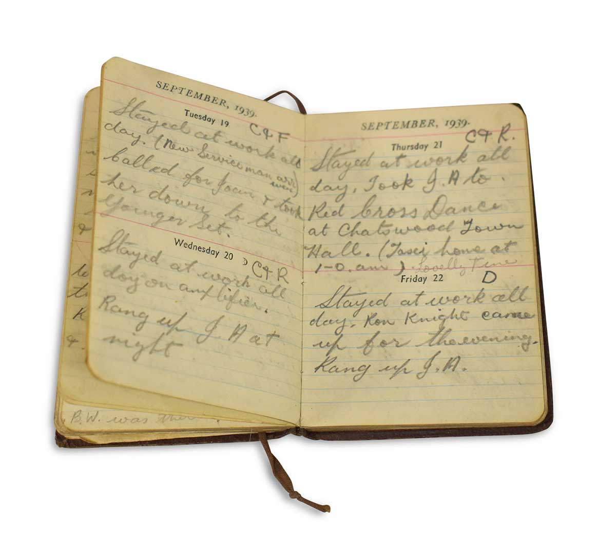 Diary with handwritten notes. - click to view larger image