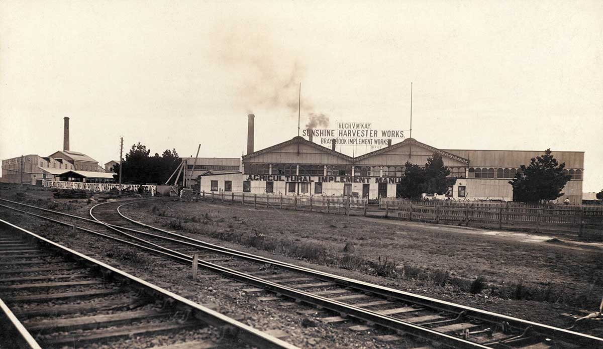 Photograph of the Sunshine Harvester Works.