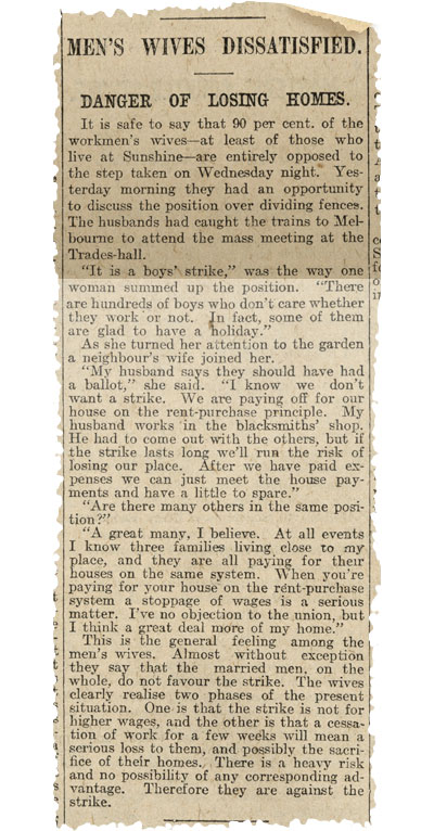 Newspaper clipping with title 'Men's wives dissatisfied'.
