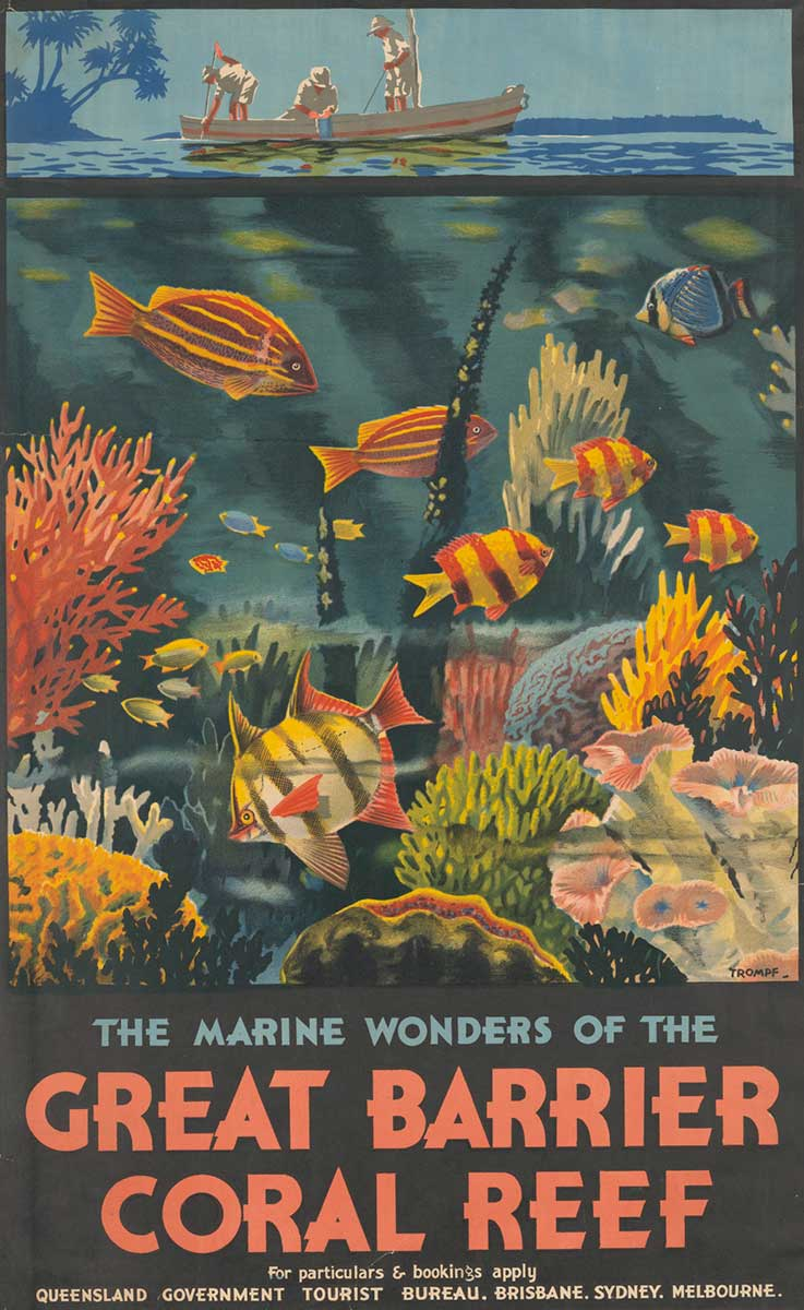 Colourful poster showing three people in a boat and various coral and fish underwater. - click to view larger image