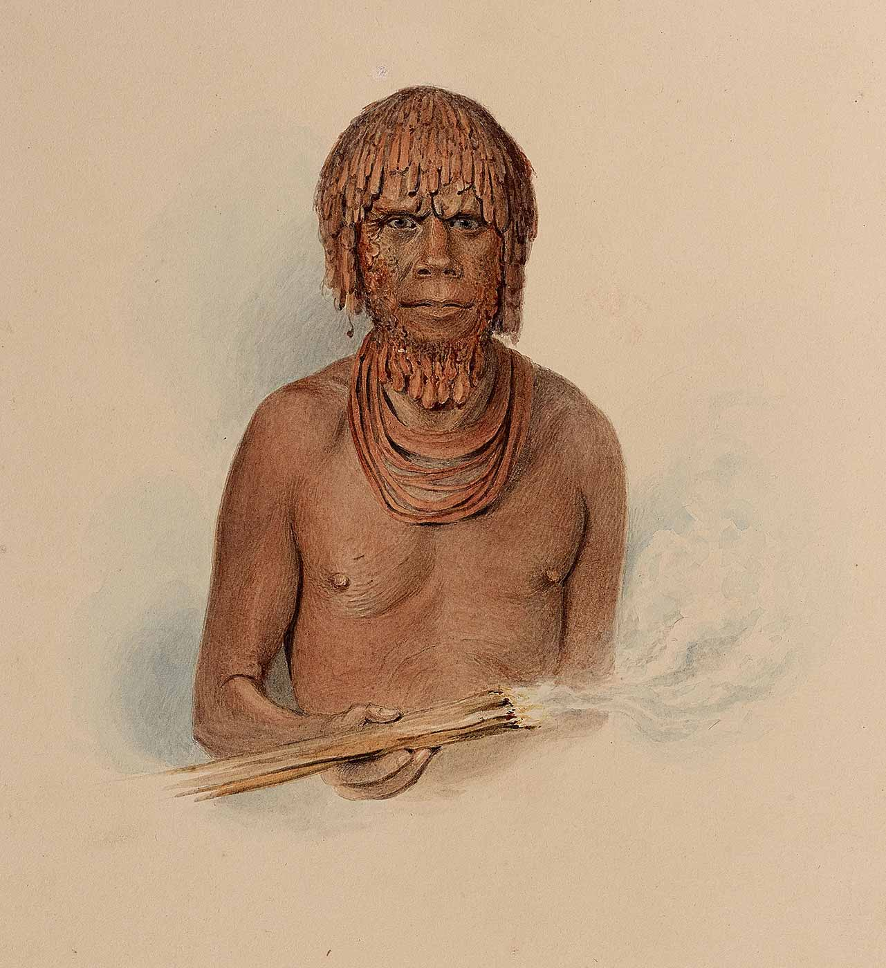 A watercolour depicting Mannalargenna, a leader of the Tasmanian Aboriginal people from Oyster Bay. He has long hair and beard, and is wearing necklaces and holding a fire stick. - click to view larger image