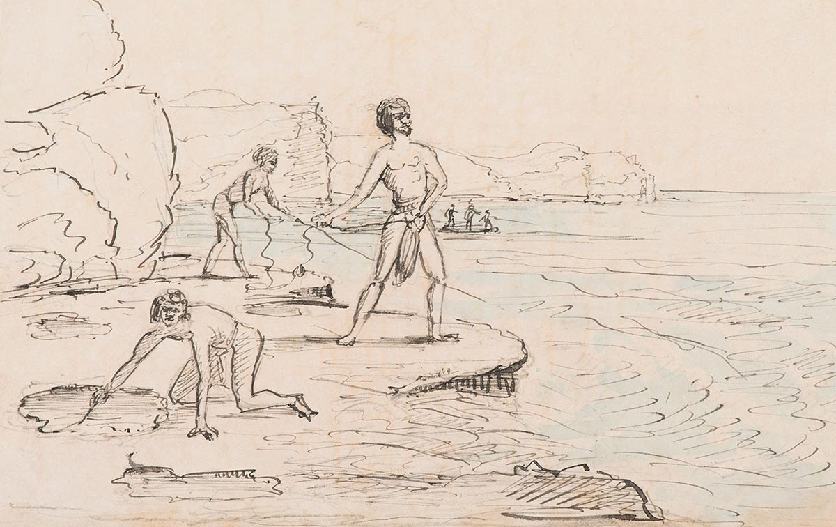 An old sketch of men fishing from a rock platform.