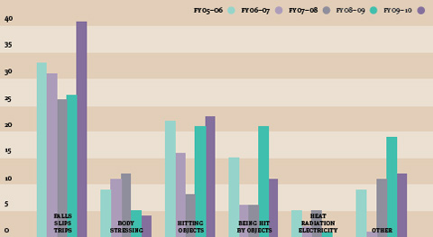 A vertical bar chart set against a background of coloured bands. The bands alternate between biege and darker biege. The vertical bars are light green, darker green, light purple, darker purple and grey. The vertical bars are in six groups. Each group is labelled at the bottom; the labels are 'Falls Slips Trips', 'Body Stressing', 'Hitting Objects', 'Being Hit By Objects', 'Heat Radiation Electricity' and 'Other'. In the top right hand corner of the chart are five different coloured dots with text next to each dot. From left to right, the dots are: light green, with 'FY05-06'; light purple, with 'FY06-07'; grey, with 'FY07-08', dark green, with 'FY08-09; and dark purple, with 'FY09-10'. At the left side of the chart are numbers, starting with zero at the bottom and ending with forty at the top.