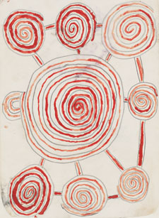 A 1971 pencil and watercolour untitled work by an unknown Pintupi artist, showing a central circular image surrounded by and joined to smaller circles.