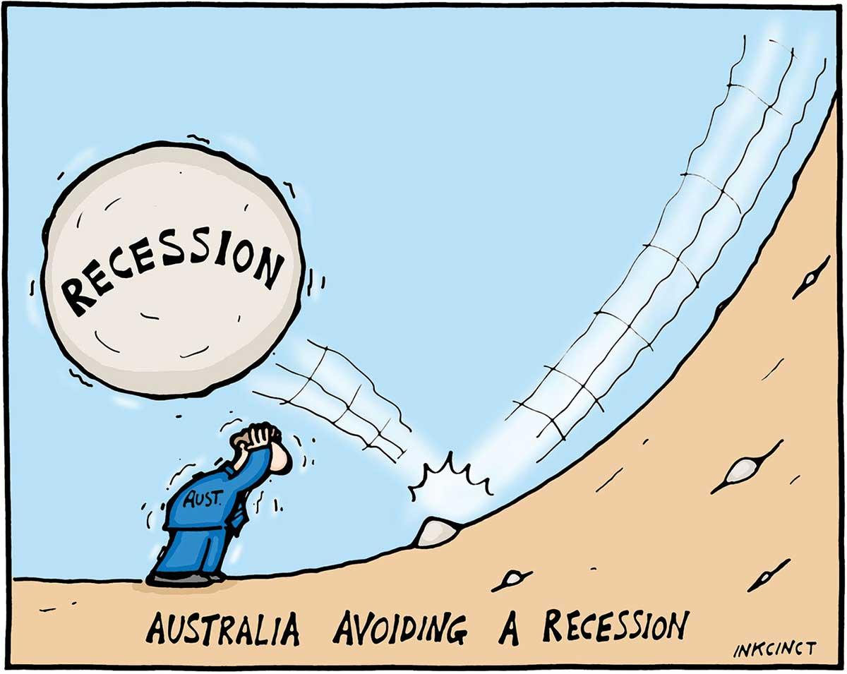 A colour cartoon depicting a man wearing a blue suit, with 'AUST' written on the jacket, ducking with his hands on his head. He has been narrowly missed by a large boulder labelled 'Recession', which bounces over the man when it hits another small rock on a steep downhill slope. - click to view larger image