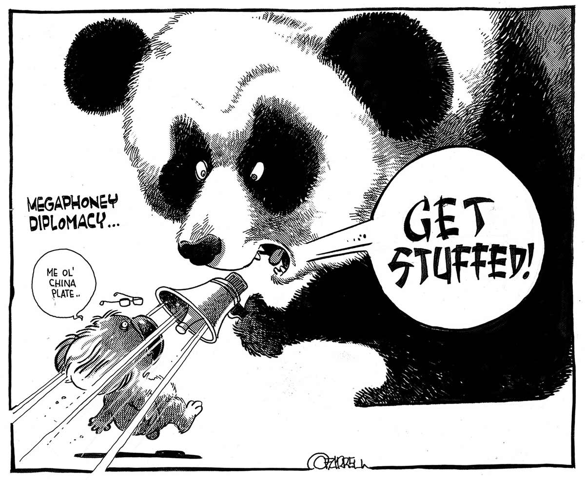 A black and white cartoon depicting a panda bear and a koala. The panda bear is considerably larger than the koala. The koala is facing the panda bear, saying 'Me ol' china plate'. The panda is replying via a megaphone it's holding. A speech balloon near the panda's mouth has the words 'Get Stuffed!' in it. The blast from the megaphone is blowing the koala backwards off its feet. The words 'Megaphoney Diplomacy' are written at the left of the image. - click to view larger image