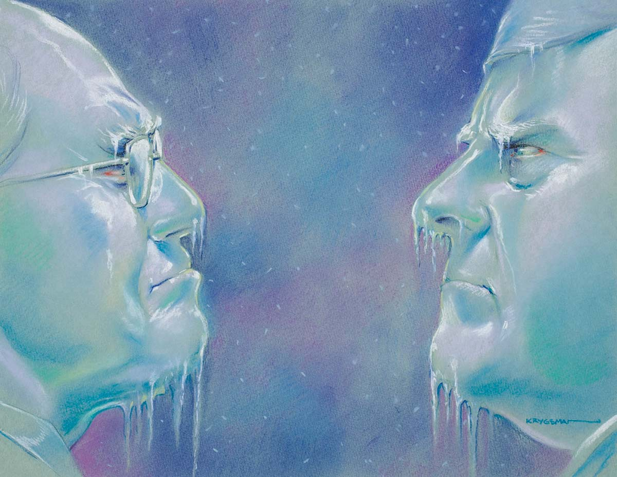 Cartoon showing John Howard and Peter Costello's 'frosty' relationship - icicles are hanging from their faces - click to view larger image