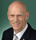 Close-up, portrait image of Peter Garrett.