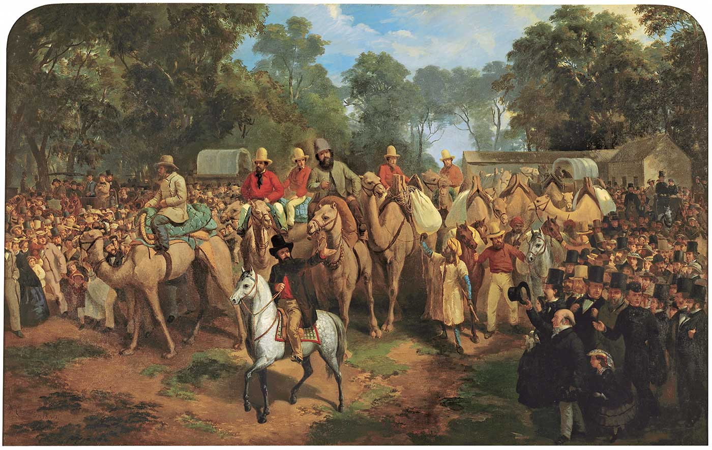 Painting of an large expedition of men on camels surrounded by a crowd of people. - click to view larger image