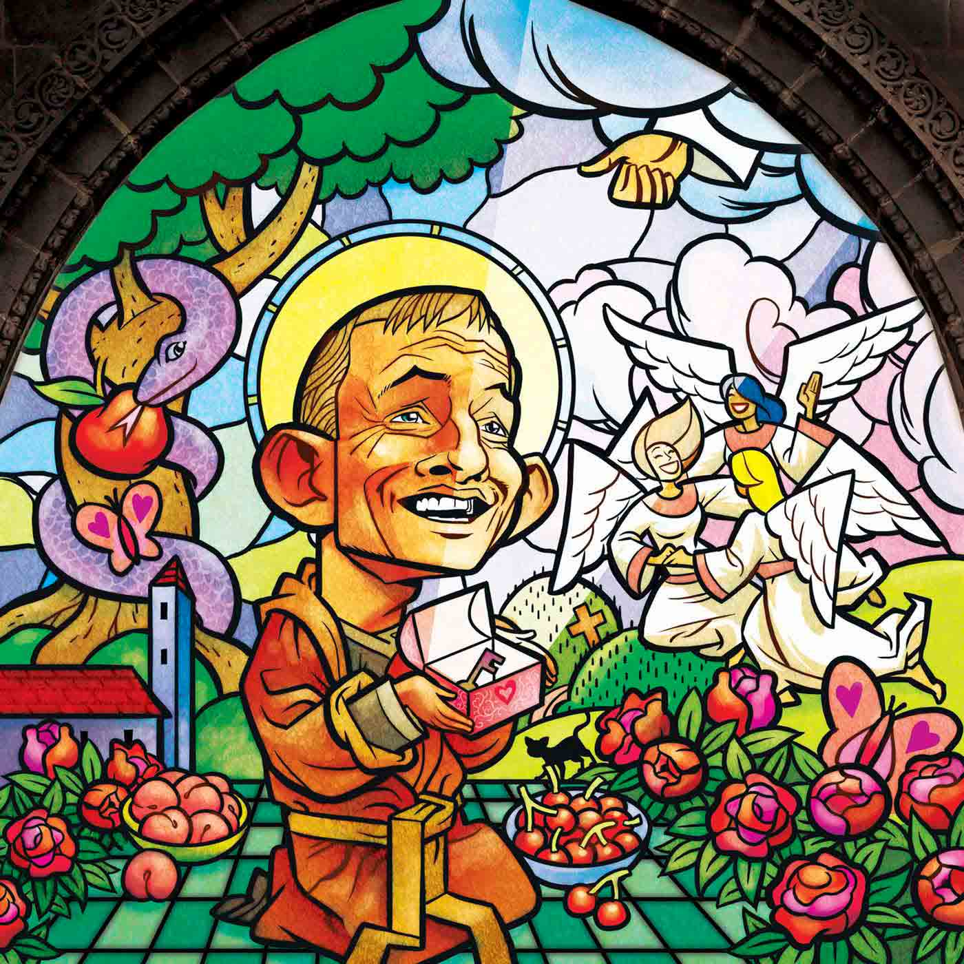 A colour cartoon depicting Tony Abbott as a monk, on a stained glass window. He kneels in the centre of the image, wearing a monk's robe. He holds a small box with a key in it. Around him are flowers, food, angels and a tree with the serpent from the Garden of Eden wrapped around it. In the sky, the hand of God emerges from a cloud, giving the 'thumbs up' sign. Abbott's expression is one of amazement and thanks.  - click to view larger image