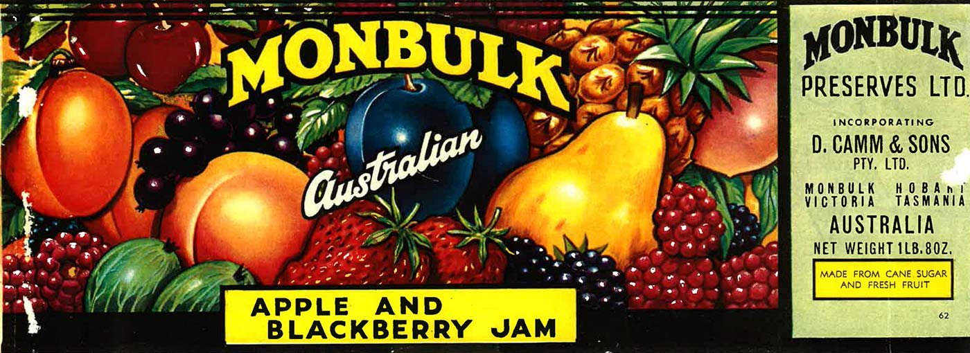 Label for Monbulk Apple and Blackberry Jam. - click to view larger image