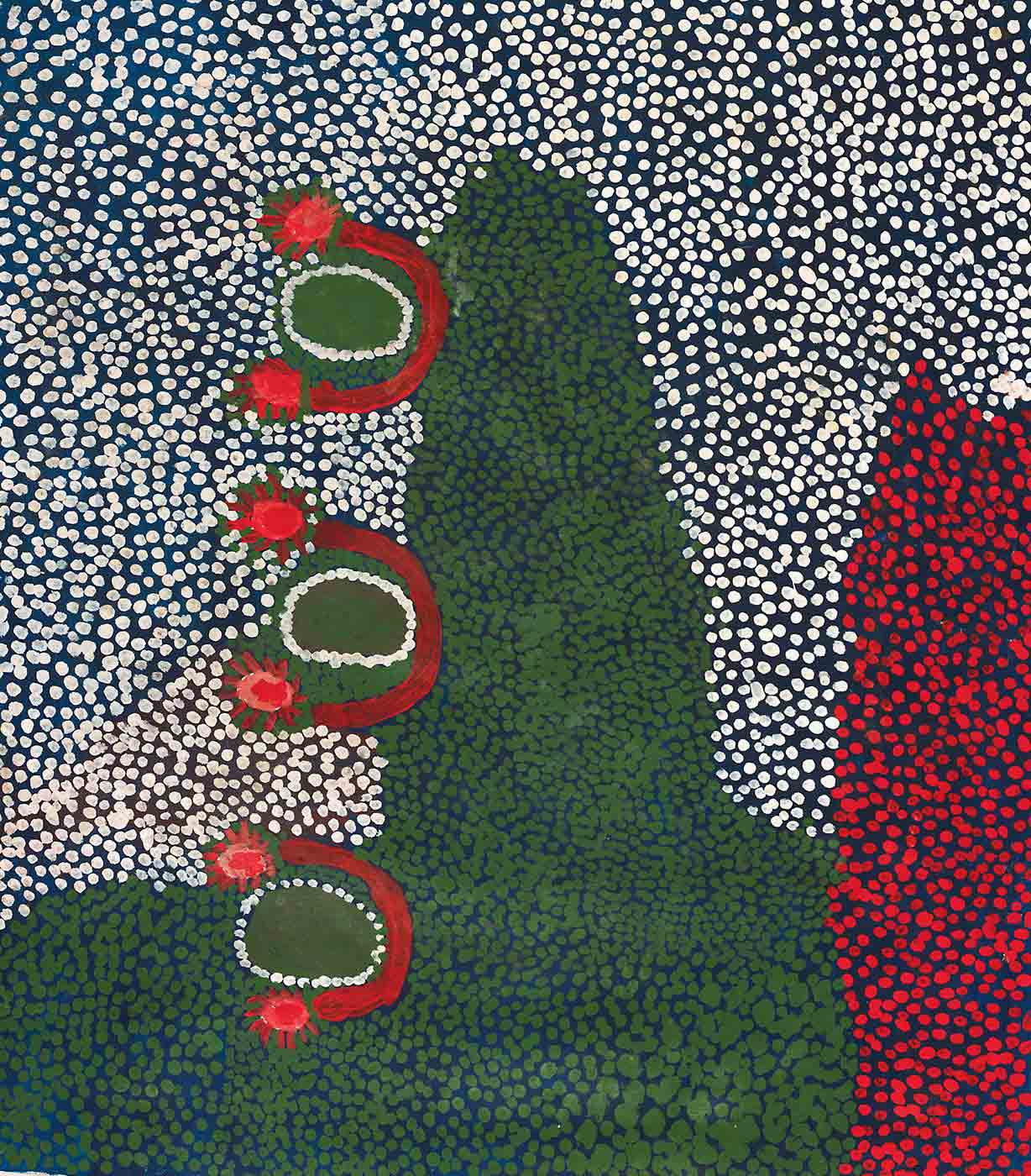 A dot painting made with acrylic paint on canvas. The painting has a dark blue background with three central oval shapes in green. Around each of these green oval shapes is an outline of white dots. Around that outline is a red semi circle with sun shapes at either end. Dots fill the rest of the painting. One side has white dots and the other side has a section of green dots and a smaller section of red dots in the corner. The different coloured dots meet in the centre creating a wavy line. - click to view larger image