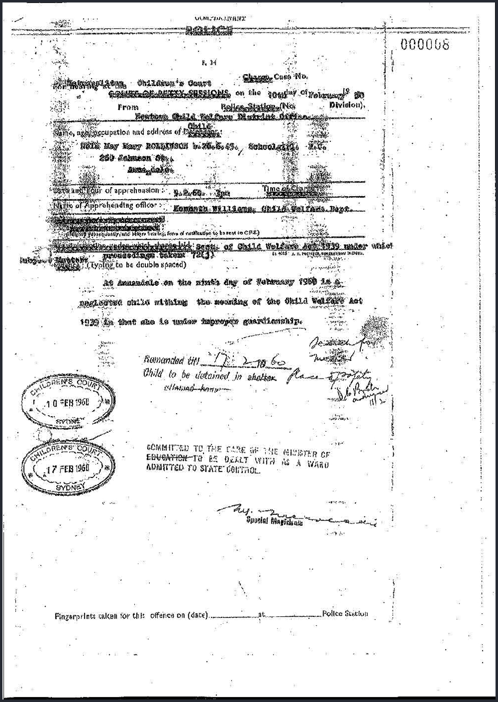Photocopy of an official black and white document headed 'POLICE'. Parts of the top of the charge document have been crossed out with typed Xs, for example 'Defendant' has been crossed out and replaced with 'Child'. Typed text states the child is 'Nola May Mary Rollinson'. The section on remand details has been amended to read [in type] 'Child to be detained in' [in handwriting] 'place of safety'. Two stamps at the left of the document read 'Children's Court, Sydney', and is dated February 1960. - click to view larger image