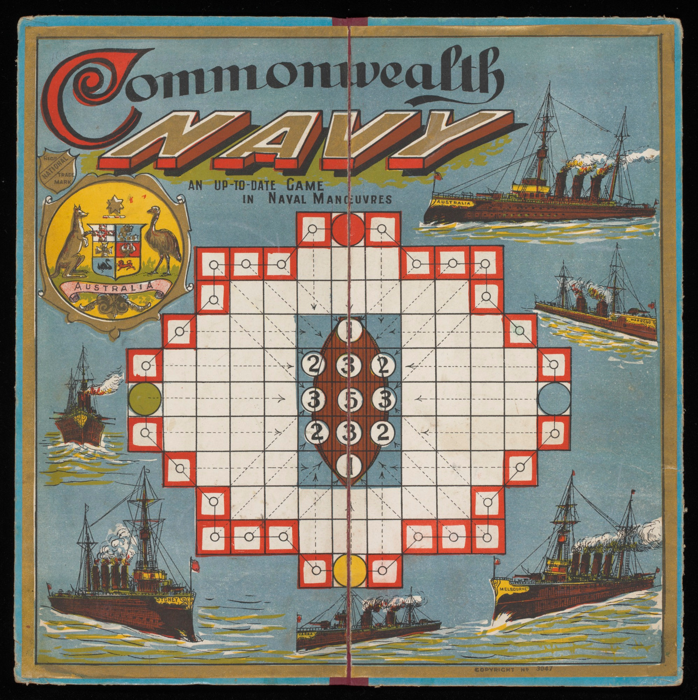 Square game board titled 'Commonwealth Navy', with white game squares at centre. Images of various war ships surround the playing space. - click to view larger image