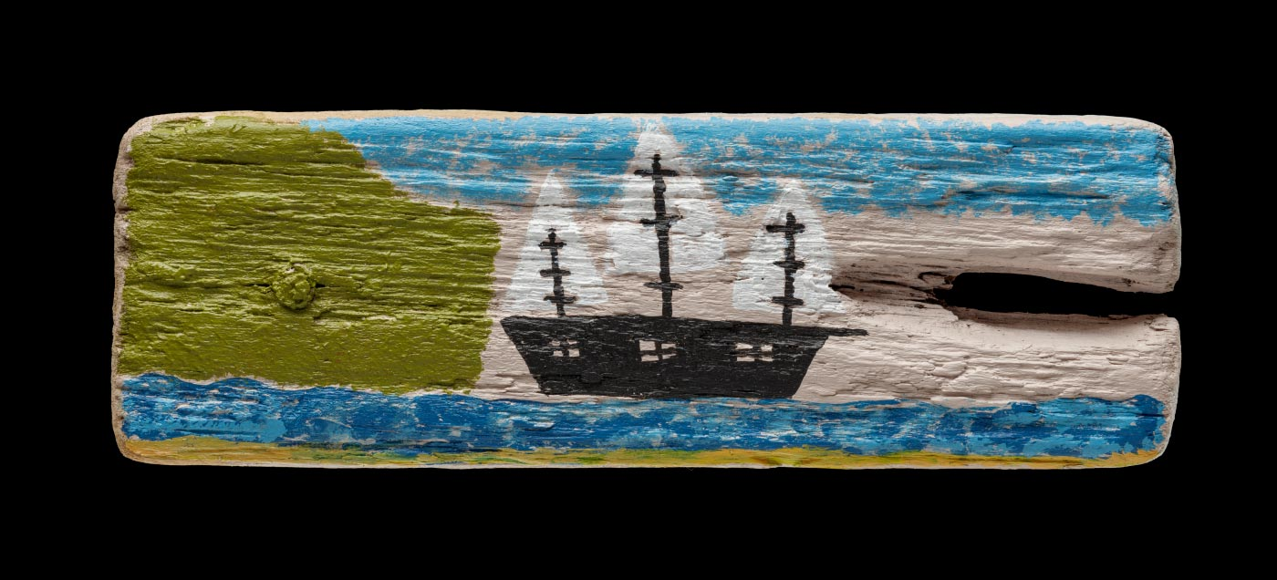 An acrylic painting on driftwood featuring a black ship with white sails at sea. - click to view larger image