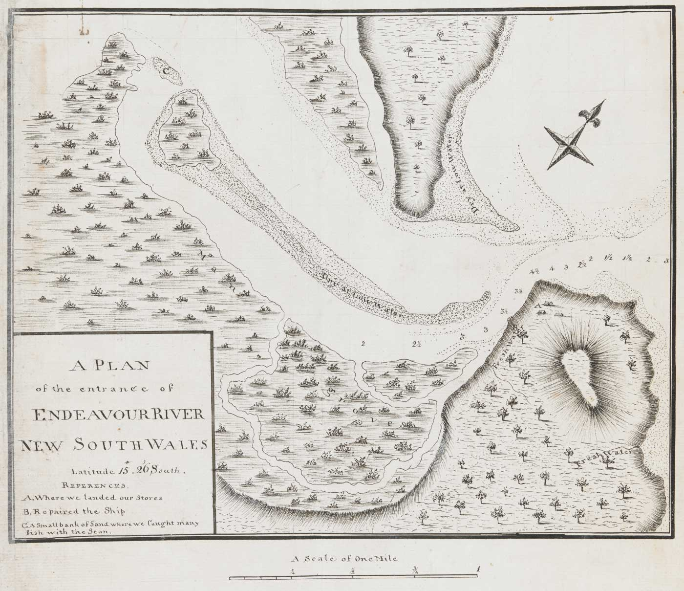 A sketch map showing the entrance of the 'Endeavour River, New South Wales'.
