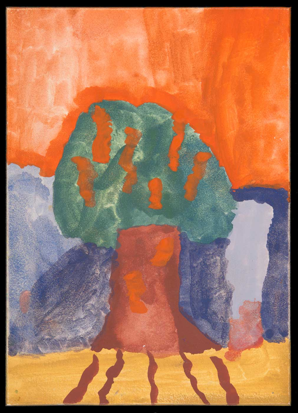Painting on aquabord, depicting a tree against a purple background and orange sky. - click to view larger image
