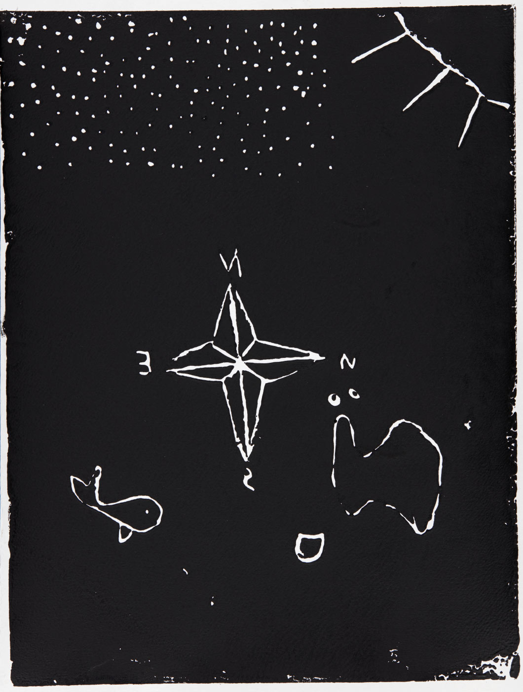 Print, black ink on white paper, depicting a compass, a whale, and Australia (printed in reverse?). Annotated in pencil 'Malachi'. - click to view larger image