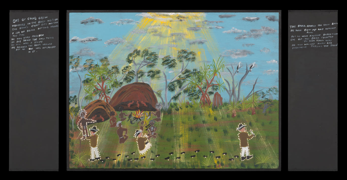 A plywood and medium density fibreboard [MDF] lightbox featuring a painting of a group of Aboriginal people being shown a knife by a white man in a hat who is depicted three times. The sun is shining in the sky and it's rays shine through trees to the ground. Hand painted text on the left side of the box reads 'ONE OF COOK'S CREW / WONDERED IN THE BUSH AND FOUND / THE BAMA'S CAMPSITE...'. Text on the right side of the box reads 'THE BAMA'S HANDED THE KNIFE BACK / ...' Very small holes have been drilled into the painting around the prominent features. - click to view larger image