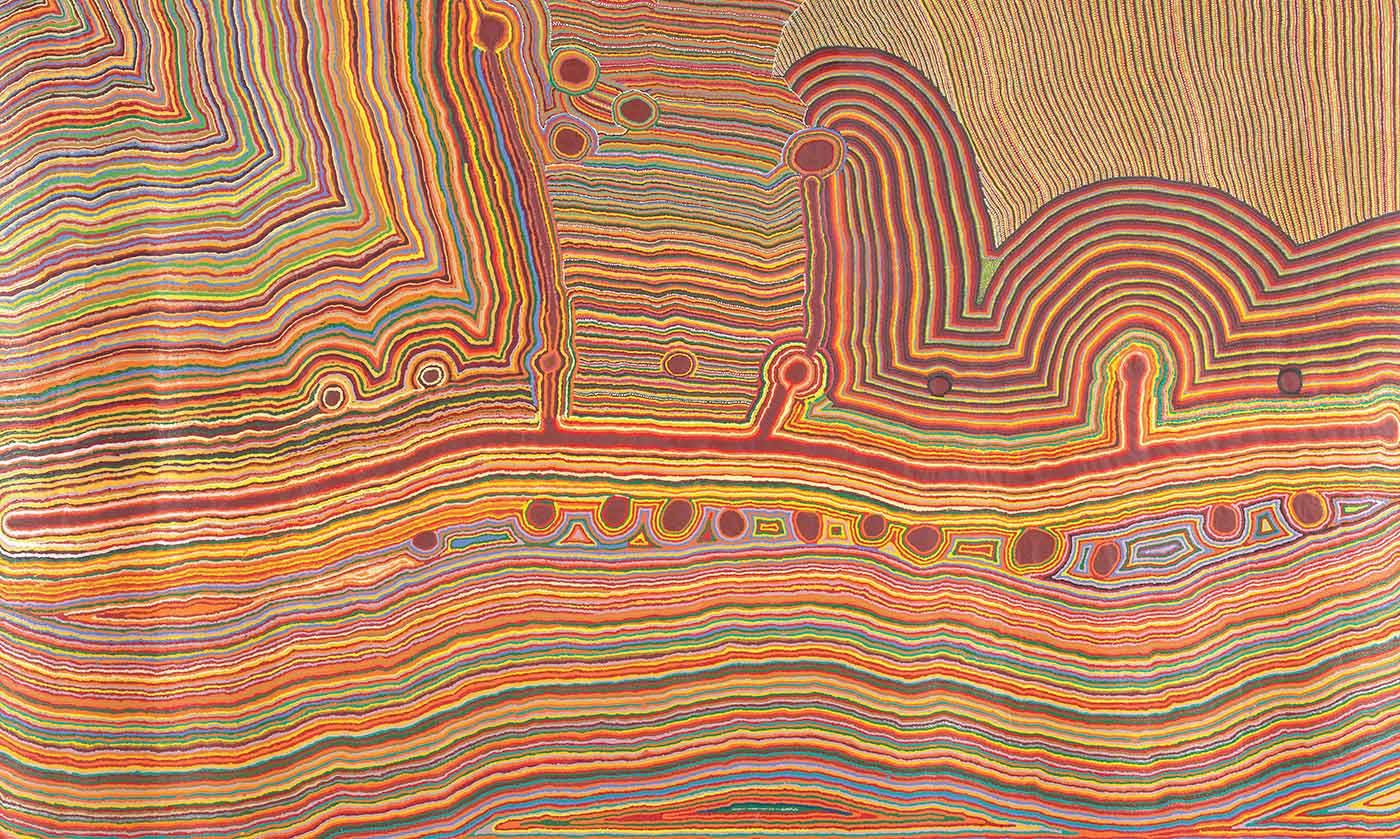 Martumili Ngurra by Kumpaya Girgaba, Jakayu Biljabu, Ngamaru Bidu, Thelma Judson, Nola Taylor and Jane Girgaba, Martumili Artists, 2009. Acrylic on linen. - click to view larger image