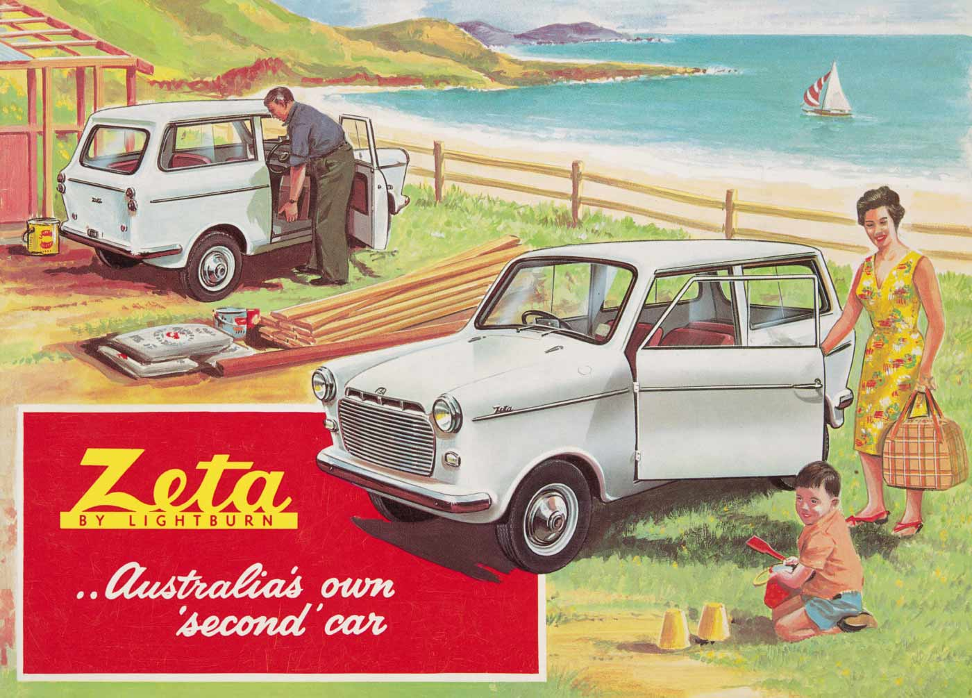 A coloured advertising brochure cover featuring two small grey motor cars, a man, a woman, and a child in a beach setting. - click to view larger image