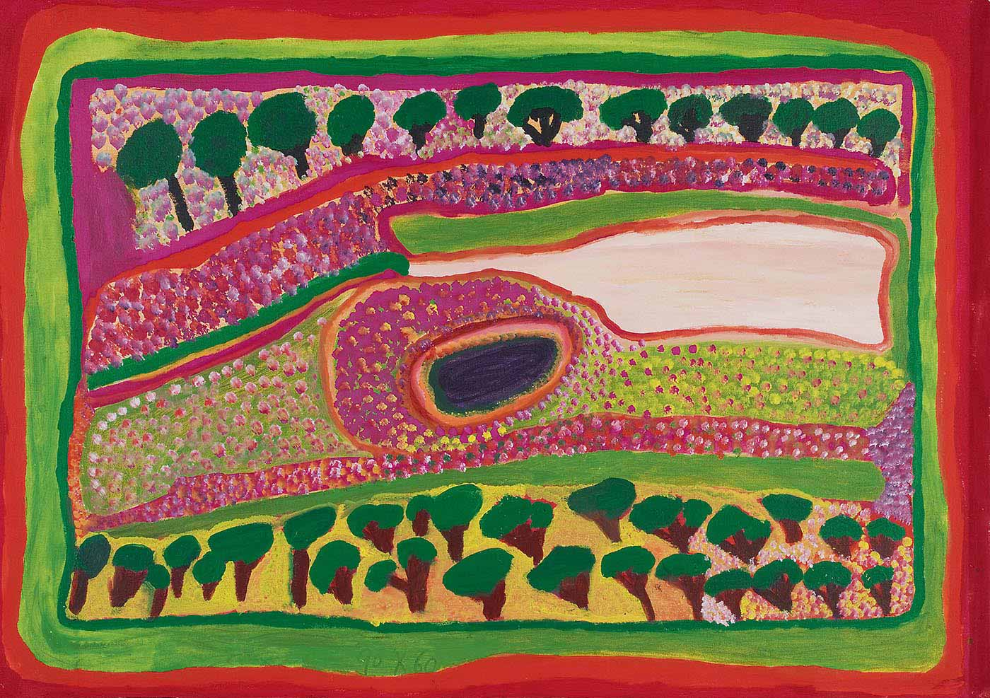 A painting on canvas with rows of trees with brown-black trunks and green foliage against a background of pink or yellow-green at the top and bottom. In the centre there is a dark purple oval shape edged with several bands of colour and surrounded by outlined shapes filled with dots of magenta, red, green, lime, black and white. To the right of the purple oval is a pale peach coloured area. The edge of the painting has multiple borders in red, orange, lime and green.