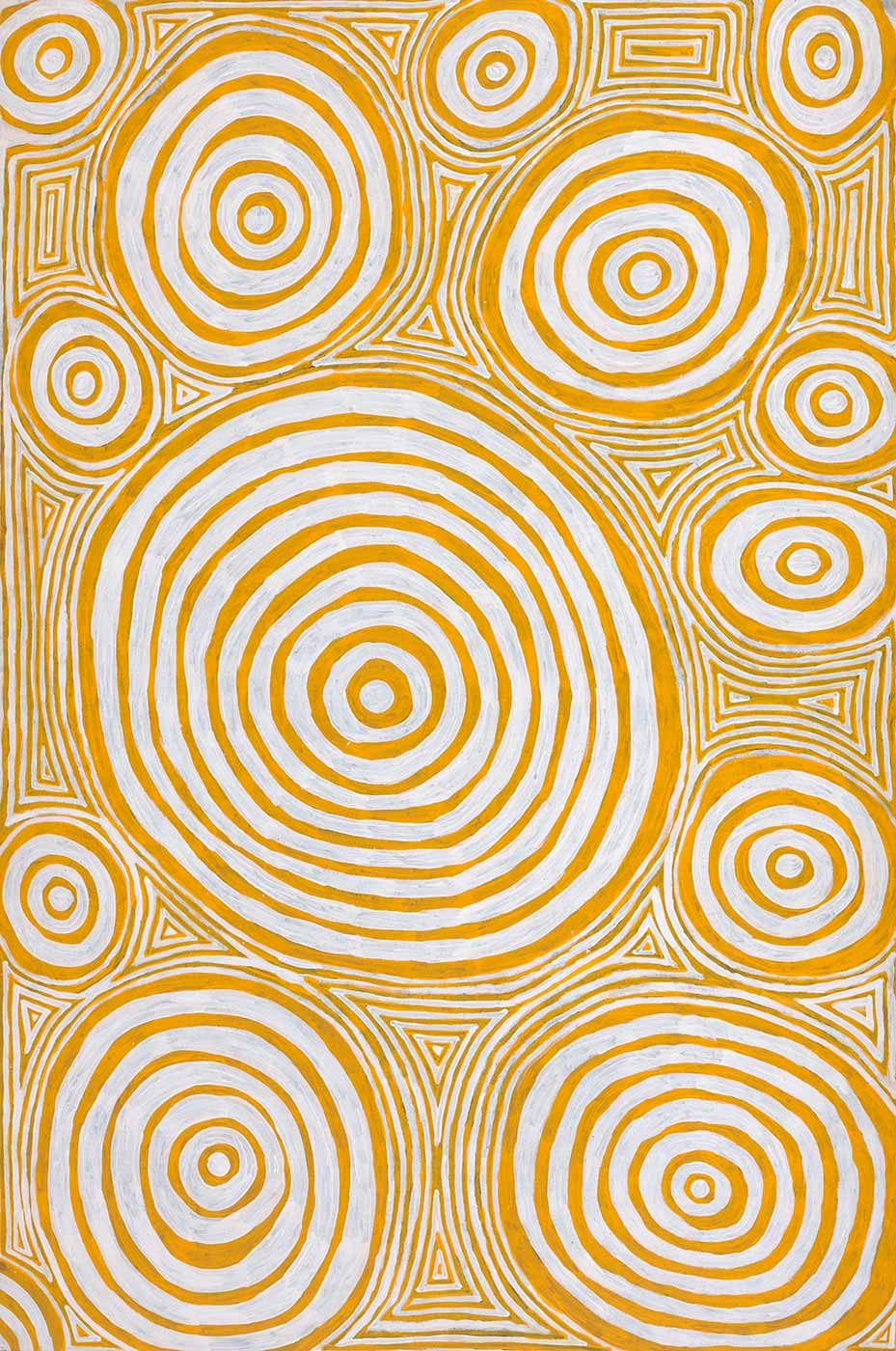 An acrylic on canvas circle and line painting. Several yellow and white circles are depicted across the painting with identical coloured lines in between.