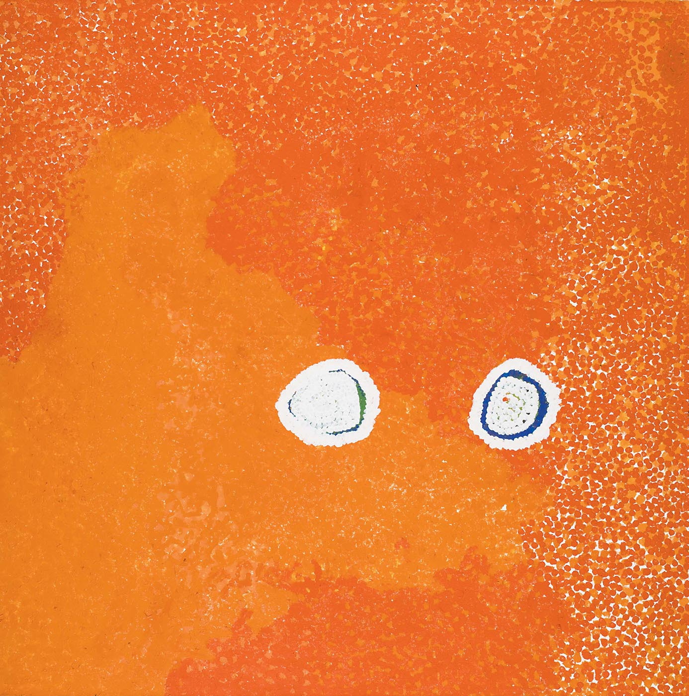 An orange toned textured painting on canvas with two white edged ovals in a horizontal line. The background is dark orange dotted in the upper right corner and lighter in lower left. The two ovals have a blue green background edged with white dots, with a central dotted white section leaving a very thin section of the blue showing.