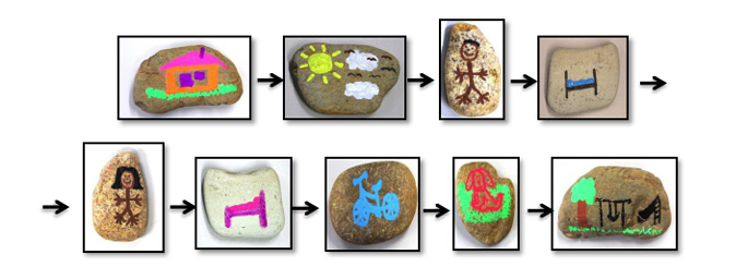 Nine rocks, each with a picture on it, arranged in order to tell a story.  Pictures are of a house, the sun and sky, a person, a bed, a person, a bed, a bicycle, a dog and an outdoor area with a tree, a swing and a slippery dip.