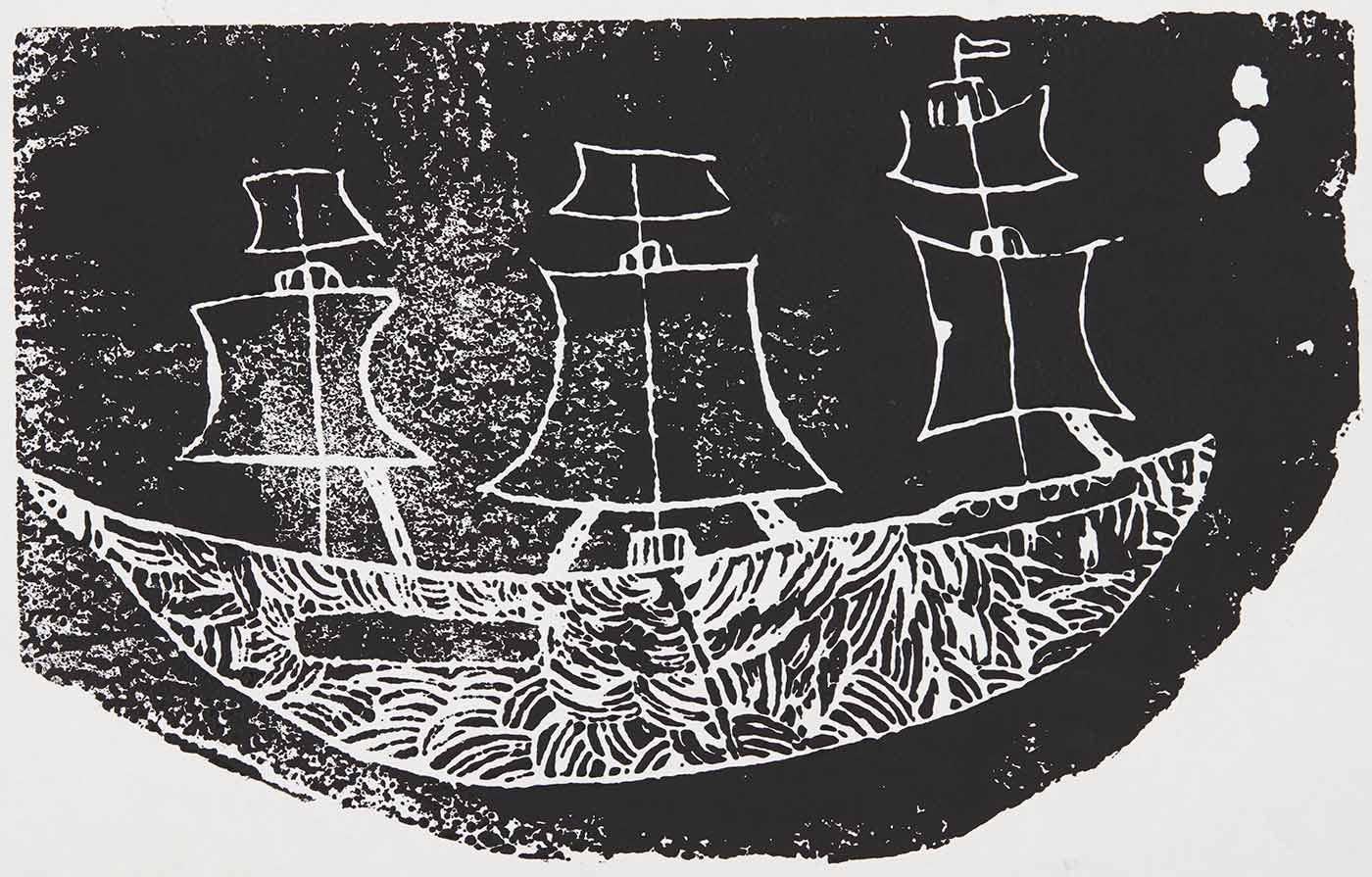A black print on white cardboard featuring a ship with curve concentric patterns across the hull of the ship. The print is signed and titled 'Tara Green / Coolamon Endeavour'. - click to view larger image