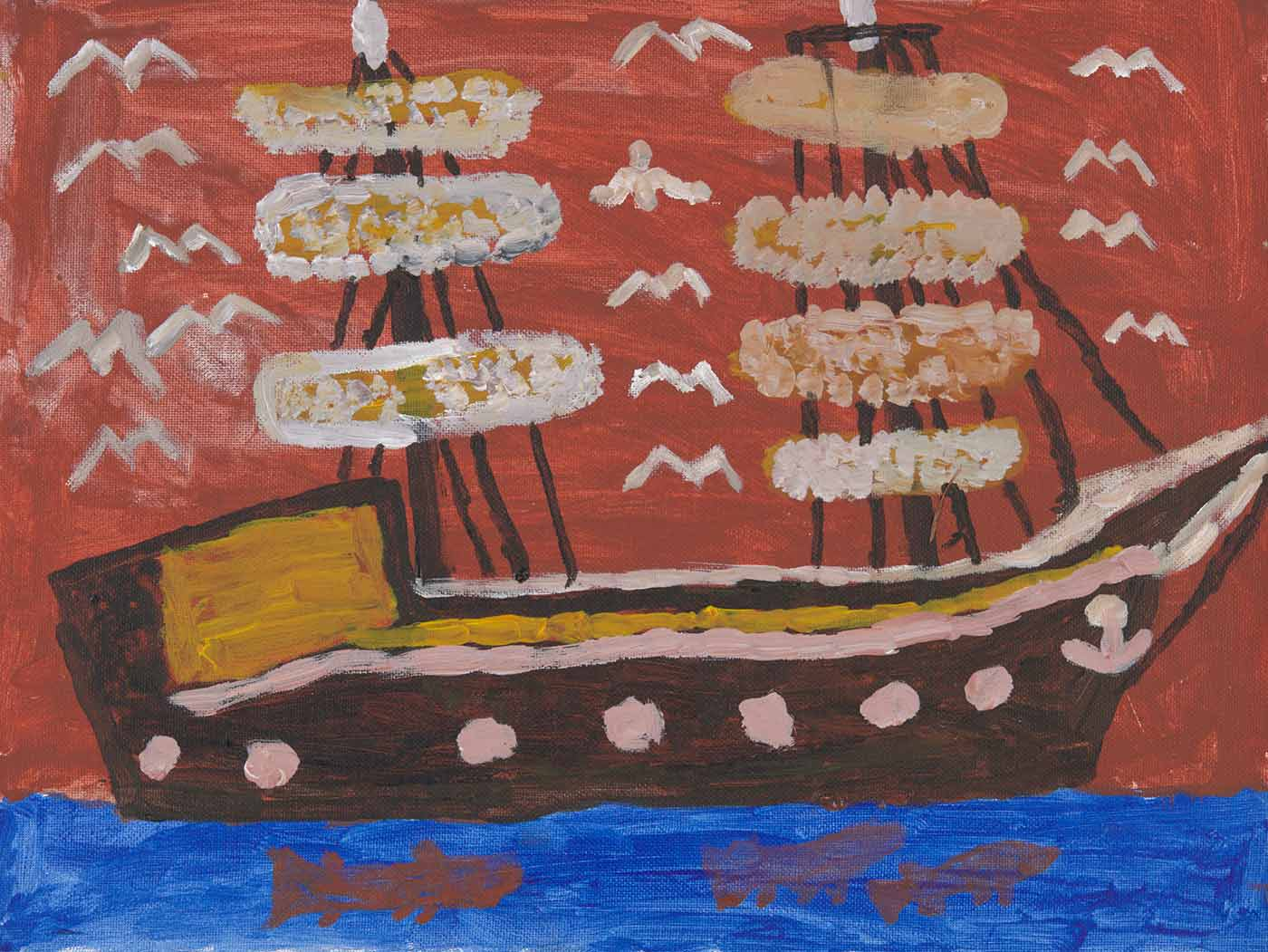 A painting on canvas board. It depicts a large brown ship with two masts on blue water with three fish in the water. There is a brown sky with 15 birds flying around the masts of the ship. - click to view larger image