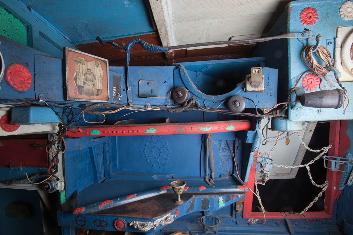 A colour photograph of one of the many storage compartments in the Saw Doctor's wagon. - click to view larger image