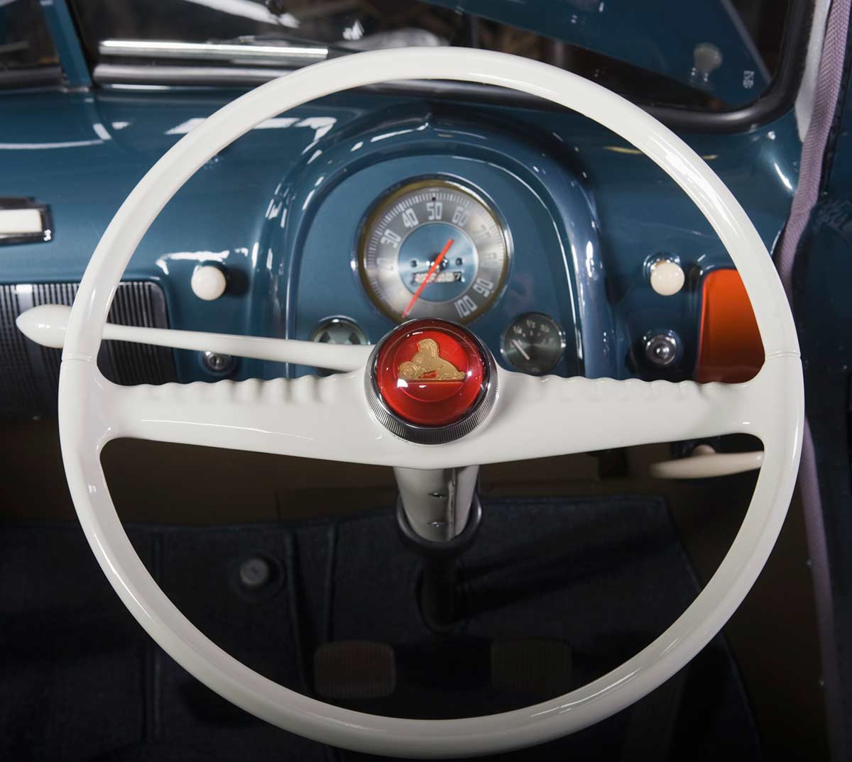 Steering wheel and dashboard of a Holden automobile. - click to view larger image