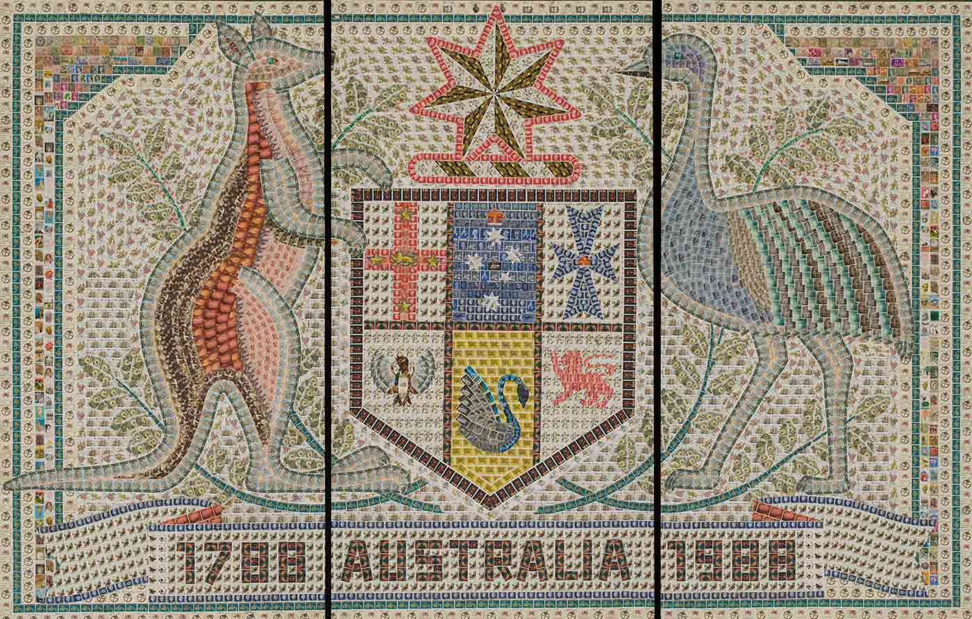Art work in three sections portraying the Australian coat of arms, made up of postage stamps. The mural has a pale green border and is dominated by images of the kangaroo and emu either side of the state shield and six-sided star. '1788 AUSTRALIA 1988' is written across the bottom, again made of stamps. - click to view larger image