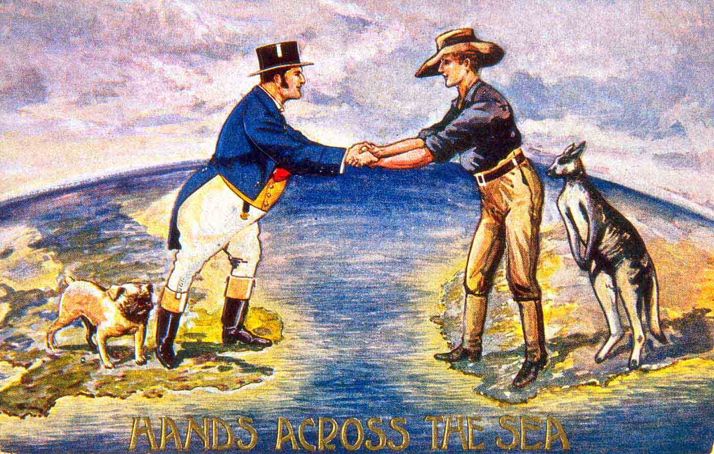 Coloured illustration showing a British gentleman, wearing a top hat and joining hands across the sea with an Australian settler, who is wearing a bush hat. A bulldog stands behind the British man, a kangaroo behind the Australian. - click to view larger image