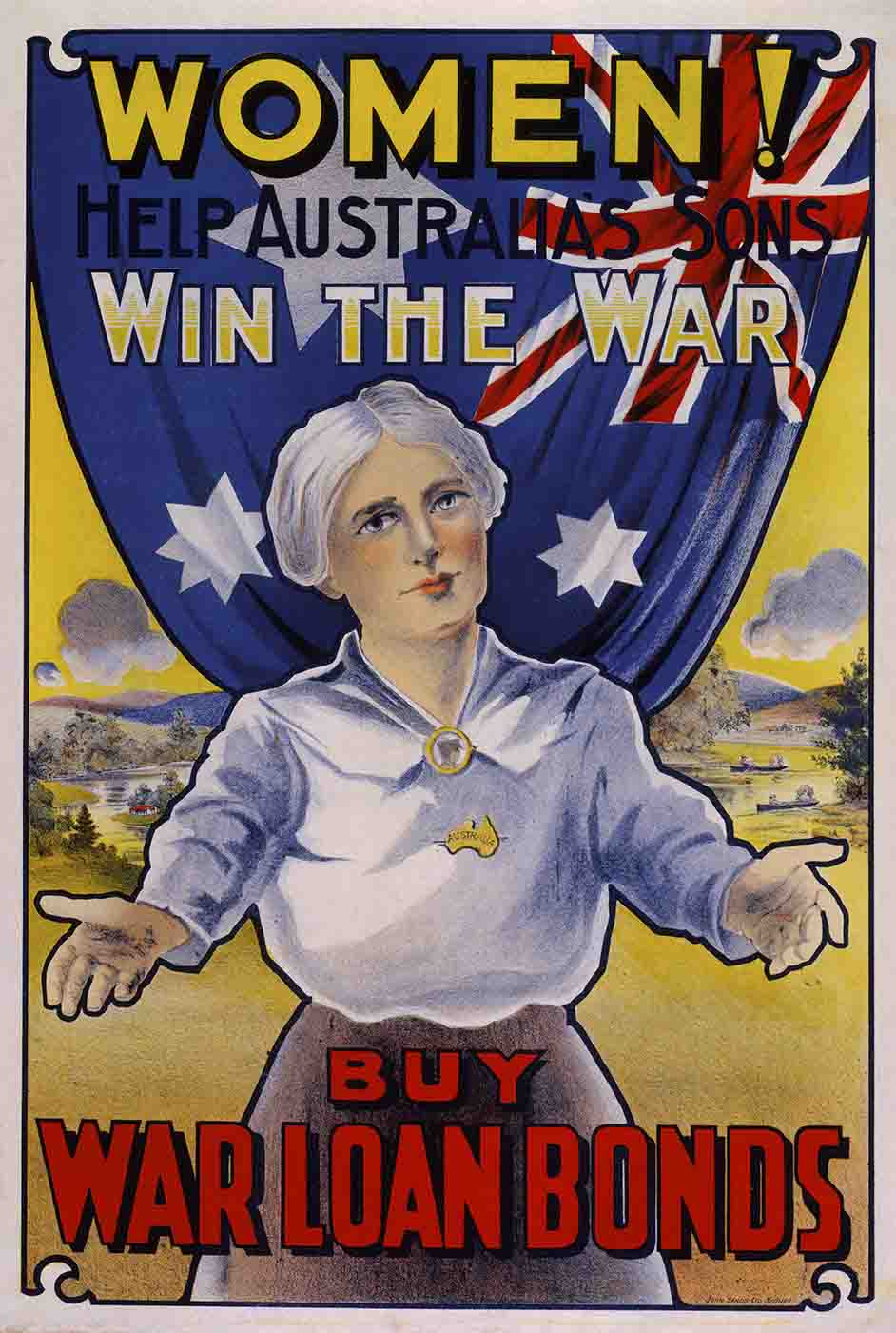 A coloured picture featuring a woman in the foreground and an Australian flag in the background. The woman has her arms outstretched to the front. The text reads 'WOMEN! HELP AUSTRALIA'S SONS WIN THE WAR. BUY WAR LOAN BONDS'. - click to view larger image