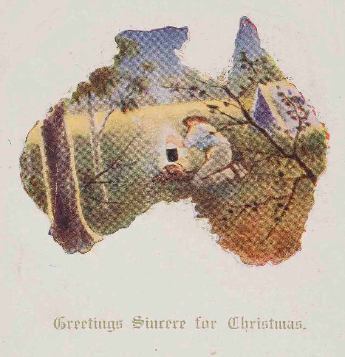 Postcard featuring an Australian bush setting with a man holding a billy over a camp fire. The scene is set within the outline of a map of Australia. The text reads 'Greetings Sincere for Christmas.' - click to view larger image