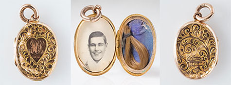 Three images of the mourning locket. The centre image is of the open locket revealing a photo of Les Darcy (on left) and a lock of his hair on a blue background (on right). The other two images are of the front (inscribed with WOS, 1917) and back of the locket, which both feature an intricate floral design.