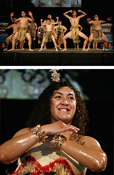 Image at top: Group shot of dancers on stage in traditional dress. Image at bottom: Female dancer in traditional dress.