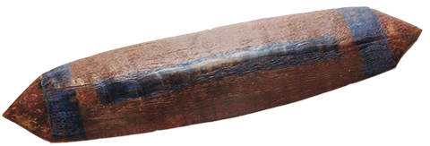 Roughly rectangular-shaped wooden shield with pointed ends. Blue bands are visible at either end and along the centre.
