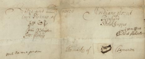 Detail from photo of Penn's 1682 Treaty with the Lenape Record.