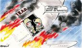 Cartoon showing John Howard and George Bush in army fatigues on a burning 'Iraq' plane. Howard says to Bush: 'Parachutes?! I thought you brought the parachutes'.