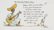 Cartoon of a Sudanese refugee playing a guitar and wearing a cowboy hat and boots, singing 'The Tamworth Refugee Blues'. Ohhhh, I feel so sad and blue  I wanna go to Tamworth but don't know what to dooo  They tol' me I ain't white 'nuff; But Darfur was quite rough An' I need somewhere safe to start life out a-roo  Ohhh, I feel so sad and blue.