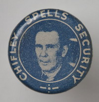 A blue circular badge bearing a portrait image of Ben Chifley and the text 'Chifley spells security' around the outer edge