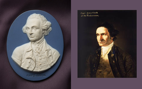Left: Wedgwood and Bentley portrait medallion of Captain Cook, dating from about 1779, which was cast from Flaxman's model. Right: Portrait of Captain James Cook by artist William Hodges in about 1775.