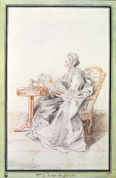 Red chalk and pencil drawing by the French artist Louis de Carmontelle that shows the Duchess of Chevreuse embroidering with a tambour or wooden frame, some time in the late 1700s