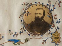 Detail of Ambrose Kyte illumination featuring a rondel housing a print photograph of Robert O'Hara Burke.